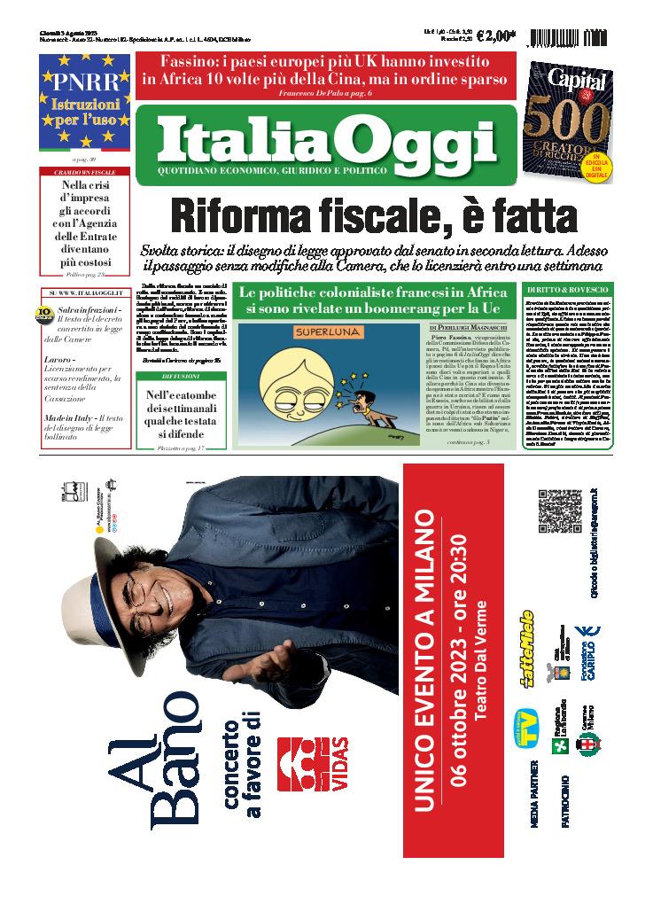 copertina ItaliaOggi